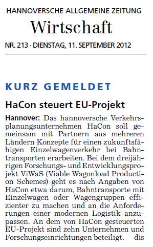 Hannoversche Allgemeine Zeitung, Issue 213 2012