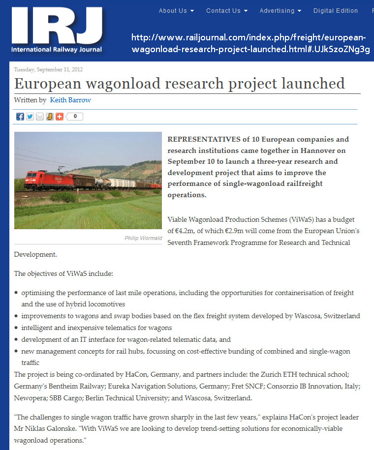 http://www.railjournal.com/index.php/freight/european-wagonload-research-project- launched.html#.UJkSzoZNg3g